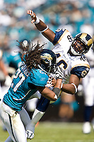October 18, 2009:    Jacksonville Jaguars cornerback Rashean Mathis (27) breaks up a pass from St. Louis Rams tight end Daniel Fells (46) during first half action between the NFC West St. Louis Rams and AFC South Jacksonville Jaguars at Jacksonville Municipal Stadium in Jacksonville, Florida............