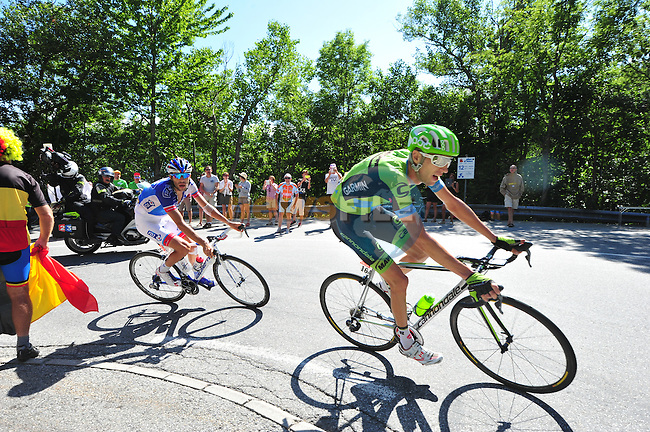 Ryder HESJEDAL (CAN) Cannondale-Garmin and Thibaut PINOT (FRA) FDJ in action during Stage 20 of the 2015 Tour de France running 110.5km from Modane Valfrejus to Alpe d'Huez, France. 25th July 2015.<br /> Photo: ASO/B.Bade/Newsfile