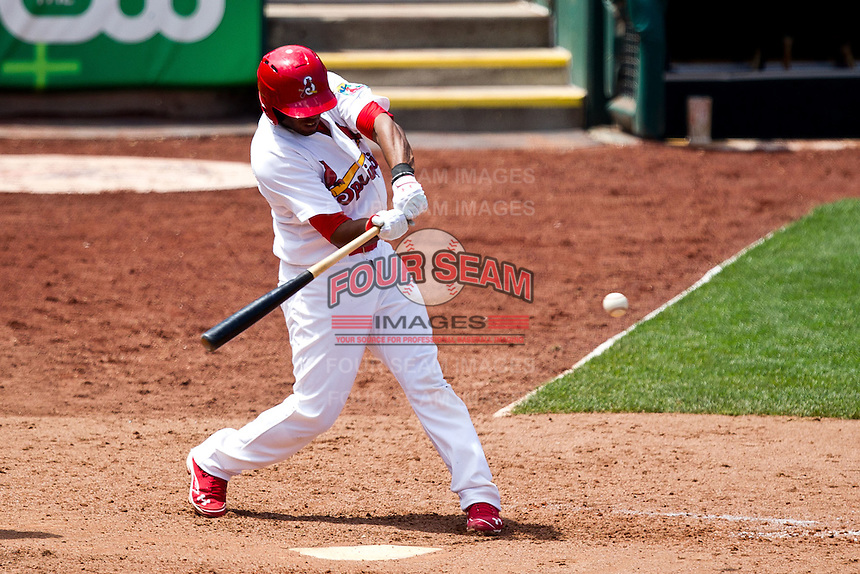 Xavier Scruggs (15) of the Springfield Cardinals swings at a pitch during a game against the Arkansas Travelers at Hammons Field on May 8, 2012 in Springfield, Missouri. (David Welker/ Four Seam Images)