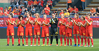 20180904 - LEUVEN , BELGIUM : Belgian team pictured during a moment of rememberance for Marc Lesenfants the female soccer game between the Belgian Red Flames and Italy , the 8th and last game in the qualificaton for the World Championship qualification round in group 6 for France 2019, Tuesday 4 th September 2018 at OHL Stadion Den Dreef in Leuven , Belgium. PHOTO SPORTPIX.BE | DAVID CATRY