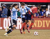 Ever Banega, Maurice Edu, Lionel Messi. The USMNT tied Argentina, 1-1, at the New Meadowlands Stadium in East Rutherford, NJ.