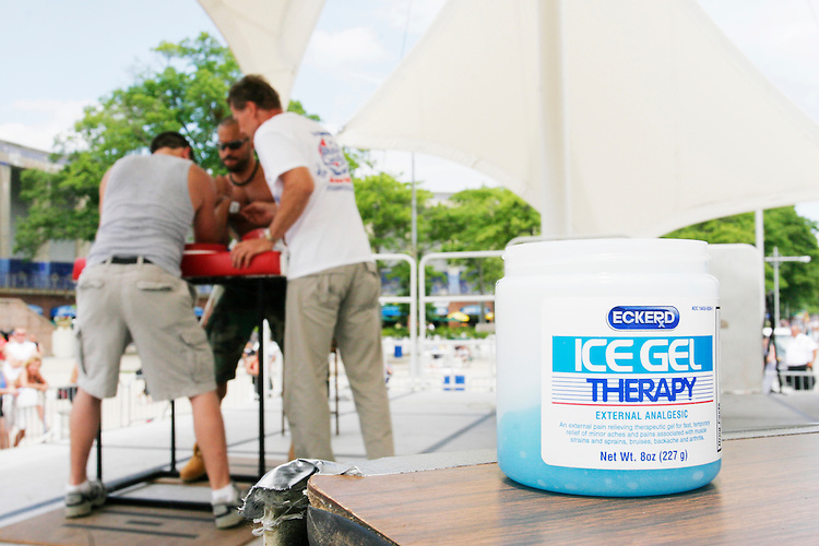 Ice Gel Therapy, used to keep arms warm, is preferred at the Staten Island Borough Championship on June 18, 2005.