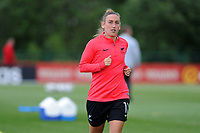 Annalie Longo of New Zealand Women's during the pre-match warm-up for the Women's International Friendly match between Wales and New Zealand at the Cardiff International Sports Stadium in Cardiff, Wales, UK. Tuesday 04 June, 2019