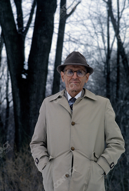 "Jack Kevorkian, MD, so called ""Dr Death"" as a renowned advocate for assisted suicide in the early 1990s. Portrait, near the office of his attorney Geoffrey Feiger, Southfield, Michigan, February 1993"