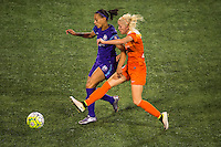 Orlando, FL - Thursday June 23, 2016: Kristen Edmonds, Denise O'Sullivan during a regular season National Women's Soccer League (NWSL) match between the Orlando Pride and the Houston Dash at Camping World Stadium.