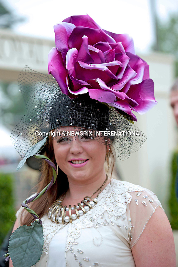 HAT FASHIONS<br /> on Ladies Day at Royal Ascot 2013, Ascot Racecourse, Ascot_20/06/2013<br /> Mandatory Credit Photo: &copy;Robert Piper/NEWSPIX INTERNATIONAL<br /> <br /> **ALL FEES PAYABLE TO: &quot;NEWSPIX INTERNATIONAL&quot;**<br /> <br /> IMMEDIATE CONFIRMATION OF USAGE REQUIRED:<br /> Newspix International, 31 Chinnery Hill, Bishop's Stortford, ENGLAND CM23 3PS<br /> Tel:+441279 324672  ; Fax: +441279656877<br /> Mobile:  07775681153<br /> e-mail: info@newspixinternational.co.uk