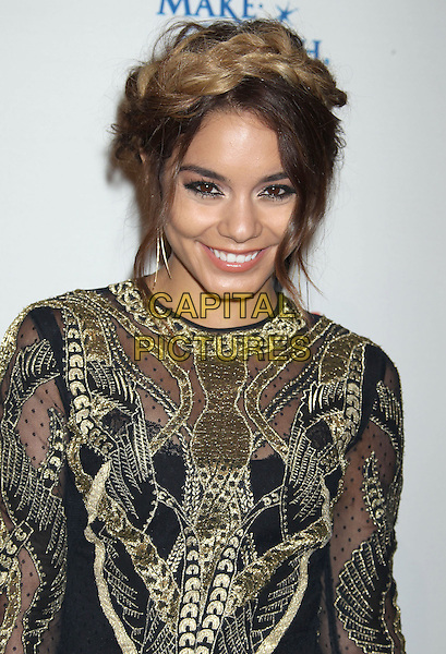 Vanessa Hudgens<br /> WWE &amp; E! Entertainment's &quot;SuperStars For Hope&quot; supporting Make-A-Wish at The Beverly Hills Hotel in Beverly Hills, CA., USA.<br /> August 15th, 2013<br /> headshot portrait gold black embroidered hair up braid plait dyed blonde half length  <br /> CAP/ADM/RE<br /> &copy;Russ Elliot/AdMedia/Capital Pictures