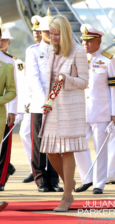 Crown Prince Haakon & Crown Princess Mette-Marit of Norway visit Thailand..Arrival at Don Muang International Airport..