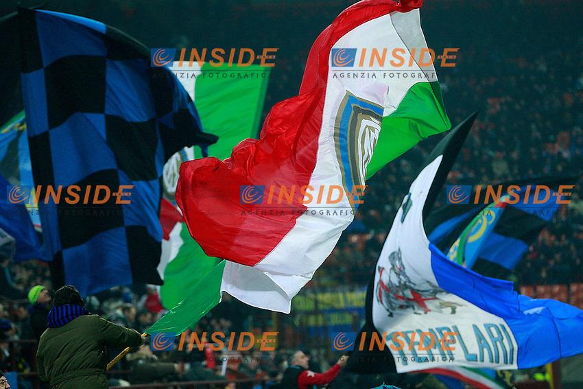 """bandiere tifosi Inter..Milano 22/01/2012 Stadio """"S.Siro""""..Football / Calcio Serie A 2011/2012..Inter vs Lazio 2-1..Foto Insidefoto Paolo Nucci"""