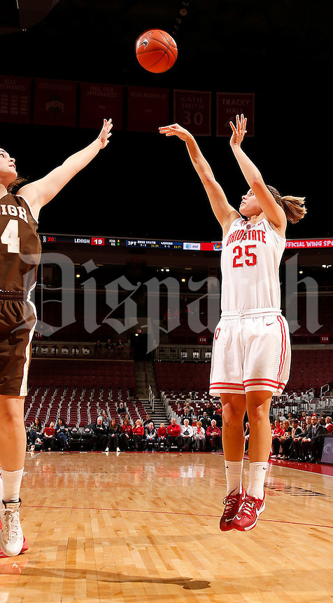 Ohio State Buckeyes guard Amy Scullion (25) takes a shot during the first half of the NCAA women's basketball game at Value City Arena on Wednesday, November 27, 2013. (Columbus Dispatch photo by Jonathan Quilter)