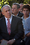 Israeli Prime Minister Benjamin Netanyahu (L) and Defense Minister, Ehud Barak (C) at the memorial service for Netanyahu's brother, Yoni Netanyahu at Mt. Hertzel in Jerusalem, Sunday, June 28, 2009. Lieutenant Colonel Yoni Netanyahu was killed during a rescue mission in Entebbe, Uganda in 1976, where hijacked Israelis and Jewish passengers from an Air France flight were held hostage. Photo By: Tess Scheflan / JINI