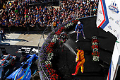 Verizon IndyCar Series<br /> IndyCar Grand Prix<br /> Indianapolis Motor Speedway, Indianapolis, IN USA<br /> Saturday 13 May 2017<br /> Will Power, Team Penske Chevrolet, Scott Dixon, Chip Ganassi Racing Teams Honda, Ryan Hunter-Reay, Andretti Autosport Honda celebrate with champagne on the podium<br /> World Copyright: Phillip Abbott<br /> LAT Images<br /> ref: Digital Image abbott_indyGP_0517_6039