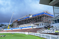 Scaffolding covers the NZ Cricket Museum during day two of the Plunket Shield cricket match between the Wellington Firebirds and Otago Volts at the Basin Reserve in Wellington, New Zealand on Tuesday, 22 October 2019. Photo: Dave Lintott / lintottphoto.co.nz