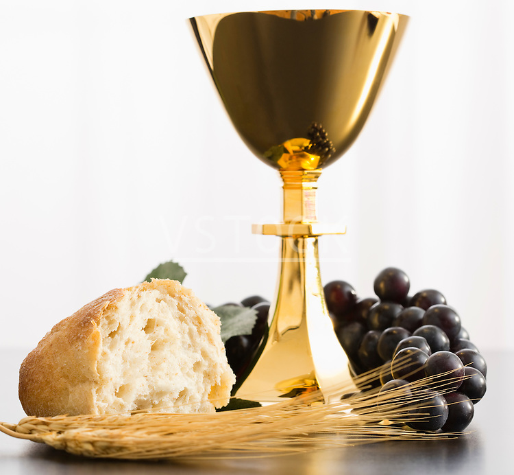 Religious offering, Christianity, gold chalice, grapes, bread and crops