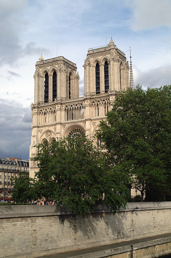 Notre Dame cathedral, free of scaffolding for the first time in 10 years, is seen from a boat on the Seine River in Paris, France in May, 2006.