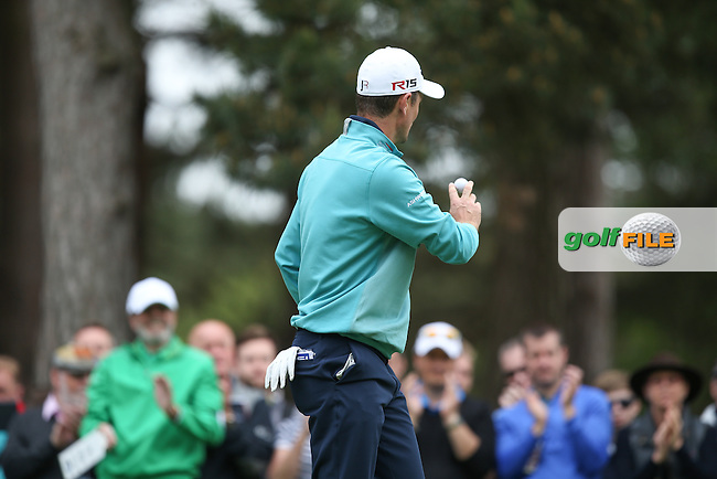 Justin Rose (ENG) salutes the gallery applause on the 10th during Round Two of the 2015 BMW PGA Championship over the West Course at Wentworth, Virginia Water, London. 22/05/2015Picture David Lloyd, www.golffile.ie.