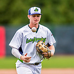 25 July 2017: Vermont Lake Monsters third baseman Will Toffey, a 4th round draft pick for the Oakland Athletics, returns to the dugout during a game against the Tri-City ValleyCats at Centennial Field in Burlington, Vermont. The Lake Monsters defeated the ValleyCats 11-3 in NY Penn League action. Mandatory Credit: Ed Wolfstein Photo *** RAW (NEF) Image File Available ***