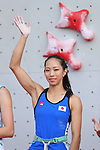 Akiyo Noguchi (JPN), <br /> AUGUST 26, 2018 - Sport Climbing : <br /> Women's Combined Final Speed <br /> at Jakabaring Sport Center Sport Climbing <br /> during the 2018 Jakarta Palembang Asian Games <br /> in Palembang, Indonesia. <br /> (Photo by Yohei Osada/AFLO SPORT)