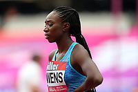 Bridgette Owens of USA competes in the womenís 100 metres hurdles during the Muller Anniversary Games at The London Stadium on 9th July 2017