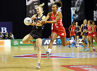 30.08.2017 Silver Ferns Shannon Francois and Engalnd's Serena Guthrie in action during the Quad Series netball match between the Silver Ferns and England at the Trusts Arena in Auckland. Mandatory Photo Credit ©Michael Bradley.