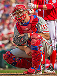 15 September 2013: Philadelphia Phillies catcher Erik Kratz looks back to the dugout during a game against the Washington Nationals at Nationals Park in Washington, DC. The Nationals took the rubber match of their 3-game series 11-2 to keep Washington's wildcard hopes alive. Mandatory Credit: Ed Wolfstein Photo *** RAW (NEF) Image File Available ***