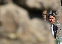 il presidente del consiglio matteo Renzi negli scavi archeologici di Pompei per presentare Expo 2015,  18 Aprile 2015