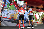 Race leader Red Jersey Nicolas Roche (IRL) Team Sunweb and World Champion Alejandro Valverde (ESP) Movistar Team at sign on before the start of Stage 4 of La Vuelta 2019 running 175.5km from Cullera to El Puig, Spain. 27th August 2019.<br /> Picture: Eoin Clarke | Cyclefile<br /> <br /> All photos usage must carry mandatory copyright credit (© Cyclefile | Eoin Clarke)