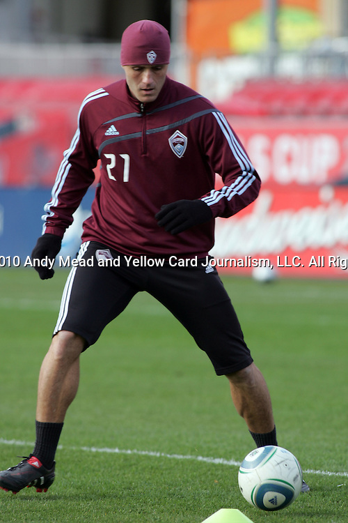 20 November 2010:  Julien Baudet (21) of the Colorado Rapids.  Colorado Rapids held a practice at BMO Field, Toronto, Ontario, Canada as part of their preparations for MLS Cup 2010, Major League Soccer's championship game.