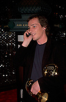 September 7,  2003, Montreal, Quebec, Canada<br /> <br /> Louis Belanger talk on a cell phone after GAZ BAR BLUES, the new film by Montreal director Louis  Belanger receive the Special Grand Prize of the Jury and also the OECUMNICAL AWARD for his movie, based on his father's life and values.<br /> <br /> <br /> <br /> The Festival runs from August 27th to september 7th, 2003<br /> <br /> <br /> Mandatory Credit: Photo by Pierre Roussel- Images Distribution. (&copy;) Copyright 2003 by Pierre Roussel <br /> <br /> All Photos are on www.photoreflect.com, filed by date and events. For private and media sales
