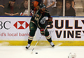 February 24th 2008:  Joel Ward (22) of the Houston Aeros controls the puck during a game vs. the Rochester Amerks at Blue Cross Arena at the War Memorial in Rochester, NY.  The Aeros defeated the Amerks 4-0.   Photo copyright Mike Janes Photography 2008