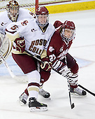 Philip Samuelsson (BC - 5), Justin Braun (UMass - 27) - The Boston College Eagles defeated the University of Massachusetts-Amherst Minutemen 6-5 on Friday, March 12, 2010, in the opening game of their Hockey East Quarterfinal matchup at Conte Forum in Chestnut Hill, Massachusetts.