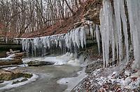 Winter, ice at Mystery Falls, Arkona Ontario, Rural Lambton County