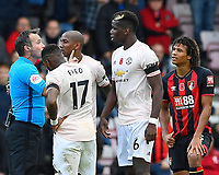 Referee Paul Tierney has a word with Paul Pogba of Manchester United during AFC Bournemouth vs Manchester United, Premier League Football at the Vitality Stadium on 3rd November 2018