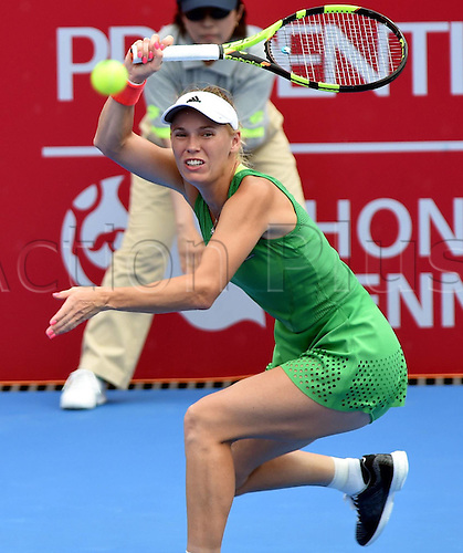 16.10.2016. Hong Kong, China.  Caroline Wozniacki of Denmark returns the ball during for women s singles final against Kristina Mladenovic of France at the WTA Tennis Damen Hong Kong Open tennis tournament in Hong Kong, south China, Oct. 16, 2016. Wozniacki claimed the title with a 2-1 win.