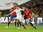England's John Stones tussles with Spain's Dani Carvajal during the friendly match at Wembley Stadium, London. Picture date November 15th, 2016 Pic David Klein/Sportimage