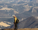 A firefighter looks out from Chews Ridge over the Los Padres National Forest on Sept. 24, 2016.