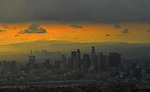 LOS ANGELES, CA - NOVEMBER 1: General view of downtown LA before the start of Game 7 of the 2017 World Series between the Houston Astros and the Los Angeles Dodger in Los Angeles, California on November 1, 2017. (Photo by Donald Miralle)