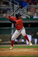 Lowell Spinners Antoni Flores (19) at bat during a NY-Penn League Semifinal Playoff game against the Batavia Muckdogs on September 4, 2019 at Dwyer Stadium in Batavia, New York.  Batavia defeated Lowell 4-1.  (Mike Janes/Four Seam Images)