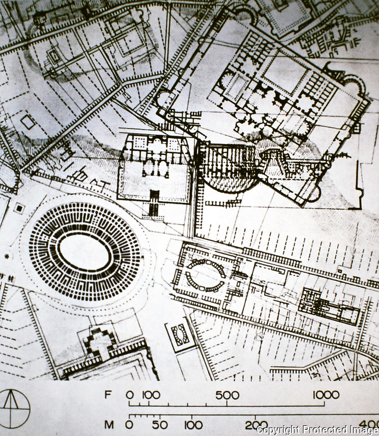 Technical drawing of ancient Roman buildings, including an amphitheater