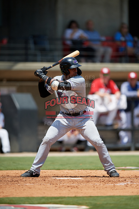 Winston-Salem Dash Yeyson Yrizarri (2) at bat during a Carolina League game against the Carolina Mudcats on August 14, 2019 at Five County Stadium in Zebulon, North Carolina.  Winston-Salem defeated Carolina 4-2.  (Mike Janes/Four Seam Images)