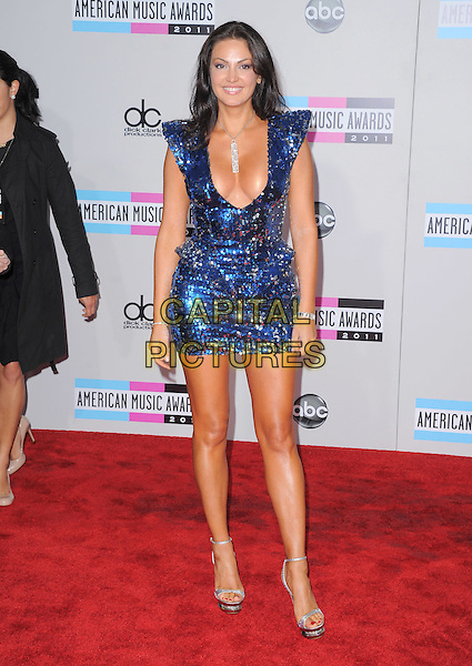 Bleona Qereti.2011 American Music Awards - Arrivals held at Nokia Theatre LA Live, Los Angeles, California, USA..November 20th, 2011.ama amas ama's full length blue dress sequins sequined cleavage low cut plunging neckline.CAP/RKE/DVS.©DVS/RockinExposures/Capital Pictures.
