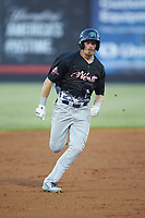 Connor Capel (11) of the Lynchburg Hillcats hustles towards third base during the 2018 Carolina League All-Star Classic at Five County Stadium on June 19, 2018 in Zebulon, North Carolina. The South All-Stars defeated the North All-Stars 7-6.  (Brian Westerholt/Four Seam Images)