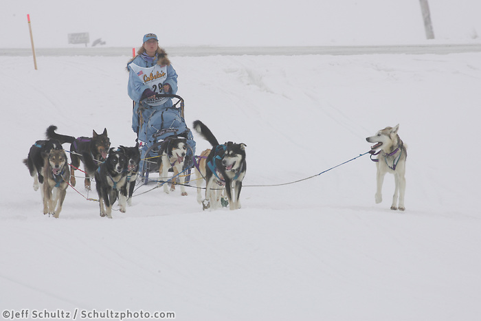 Dee Dee Jonrowe on the trail nearing Nome in foggy conditions.    End of the  2005 Iditarod Trail Sled Dog Race.
