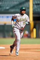 Oakland Athletics Miguel Mercedes (15) runs the bases after hitting a home run during an Instructional League game against the Arizona Diamondbacks on October 15, 2016 at Chase Field in Phoenix, Arizona.  (Mike Janes/Four Seam Images)