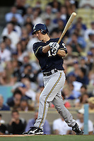 Zack Greinke #13 of the Milwaukee Brewers bats against the Los Angeles Dodgers at Dodger Stadium on May 31, 2012 in Los Angeles,California. Milwaukee defeated Los Angeles 6-2.(Larry Goren/Four Seam Images)