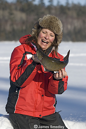 Ice fishing splake in winter