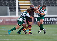 Elliot Millar Mills of Ealing Trailfinders makes a tackle during the RFU Championship Cup match between Ealing Trailfinders and Ampthill RUFC at Castle Bar , West Ealing , England  on 28 September 2019. Photo by Alan  Stanford / PRiME Media Images