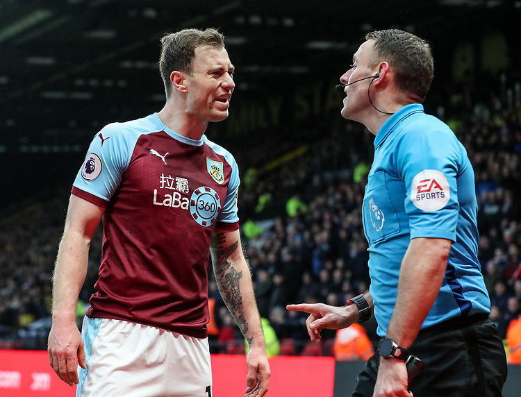 Burnley's Ashley Barnes vents his frustration at the assistant referee<br /> <br /> Photographer Andrew Kearns/CameraSport<br /> <br /> The Premier League - Watford v Burnley - Saturday 19 January 2019 - Vicarage Road - Watford<br /> <br /> World Copyright &copy; 2019 CameraSport. All rights reserved. 43 Linden Ave. Countesthorpe. Leicester. England. LE8 5PG - Tel: +44 (0) 116 277 4147 - admin@camerasport.com - www.camerasport.com