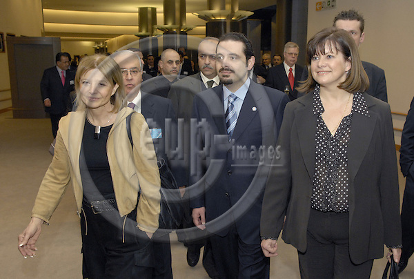 Brussels-Belgium - 01 March 2007---Saad HARIRI (ce), leader of the parliamentary majority in Lebanon, with MEPs Béatrice (Beatrice) PATRIE (ri) (PSE/F), Chairwoman of the EP-Mashrek-Delegation, and Véronique (Veronique) DE KEYSER (le) (PSE/B) prior to a panel discussion at the EP in memory of the assassination of his father (R. Hariri)---Photo: Horst Wagner/eup-images