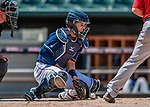 31 May 2018: New Hampshire Fisher Cats catcher Max Pentecost blocks a low pitch against the Portland Sea Dogs at Northeast Delta Dental Stadium in Manchester, NH. The Sea Dogs defeated the Fisher Cats 12-9 in extra innings. Mandatory Credit: Ed Wolfstein Photo *** RAW (NEF) Image File Available ***